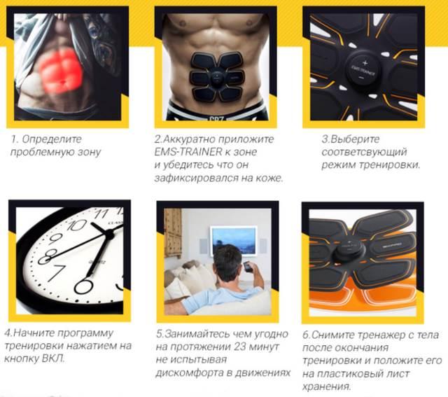 Как использовать пояс EMS-trainer для накачки мышц